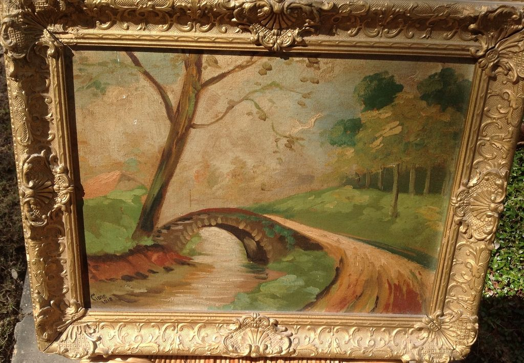 1918 vintage framed oil painting signed george clone from for A mural is painted on a