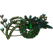 Fabulous Green Rhinestone Brooch