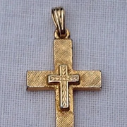 Vintage Gold Tone Metal Cross Pendant