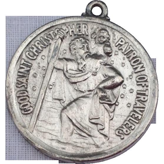 Vintage Sterling Silver Large St. Christopher Medal