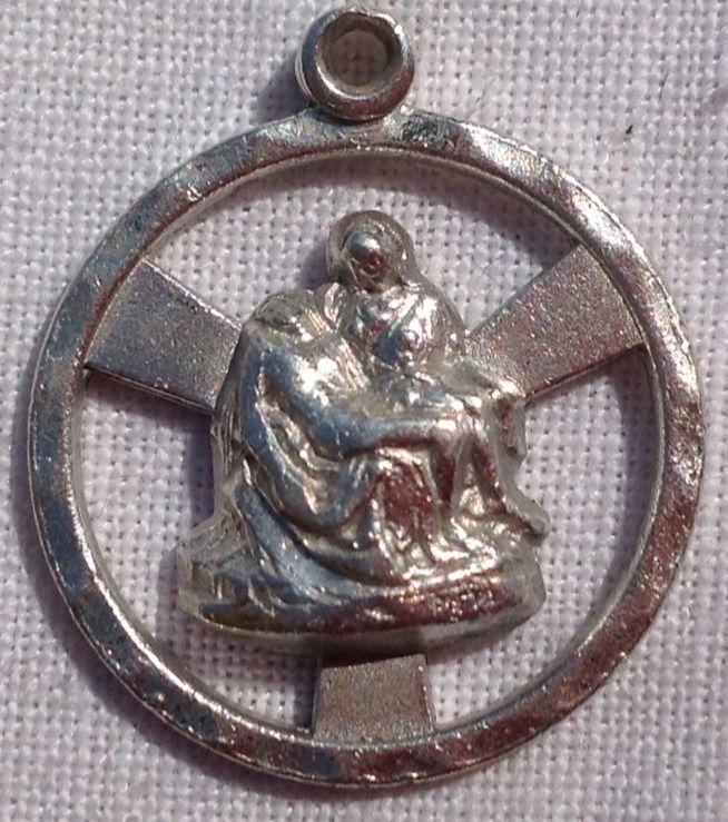 Vintage Silvertone Pieta Pendant Charm
