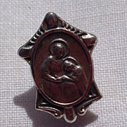 Vintage Silver Tone Metal Catholic Religious Pin Brooch