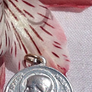 Vintage Silver Tone Metal Sweet Heart Of Jesus Medal