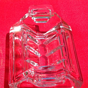 Art Deco English Clear Glass Sugar Cube Holder