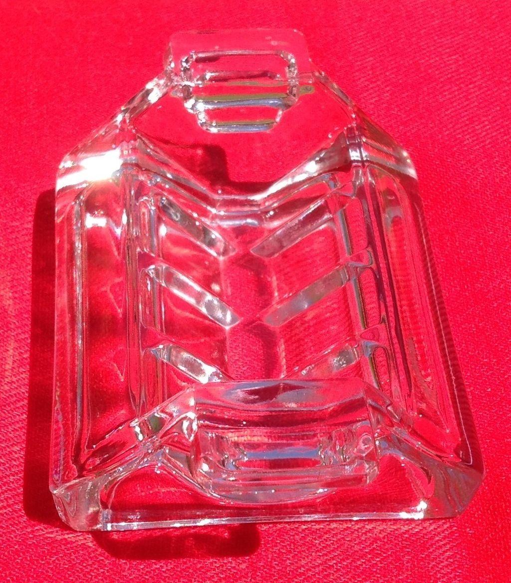Art Deco English Clear Glass Sugar Cube Holder