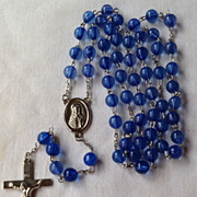 Vintage Blue Bead Silver Tone Metal Rosary