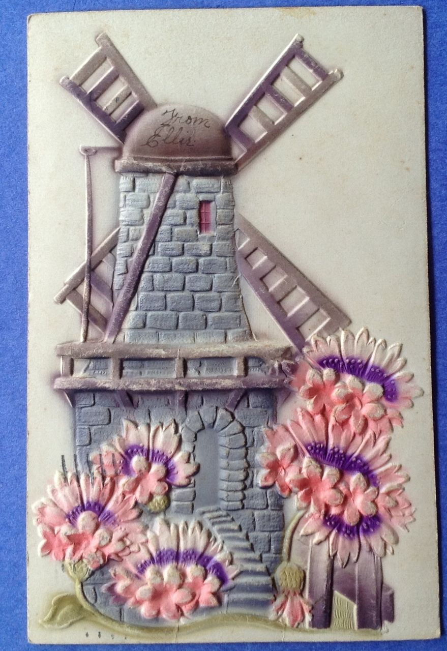 Antique 1907 Windmill Embossed Post Card
