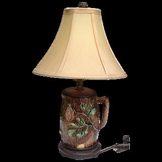 Antique English Wild Rose Majolica Pitcher Lamp
