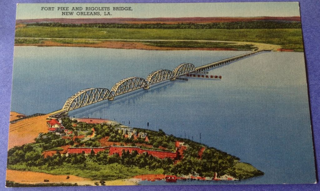 Vintage Fort Pike & Rigolets Bridge New Orleans Post Card