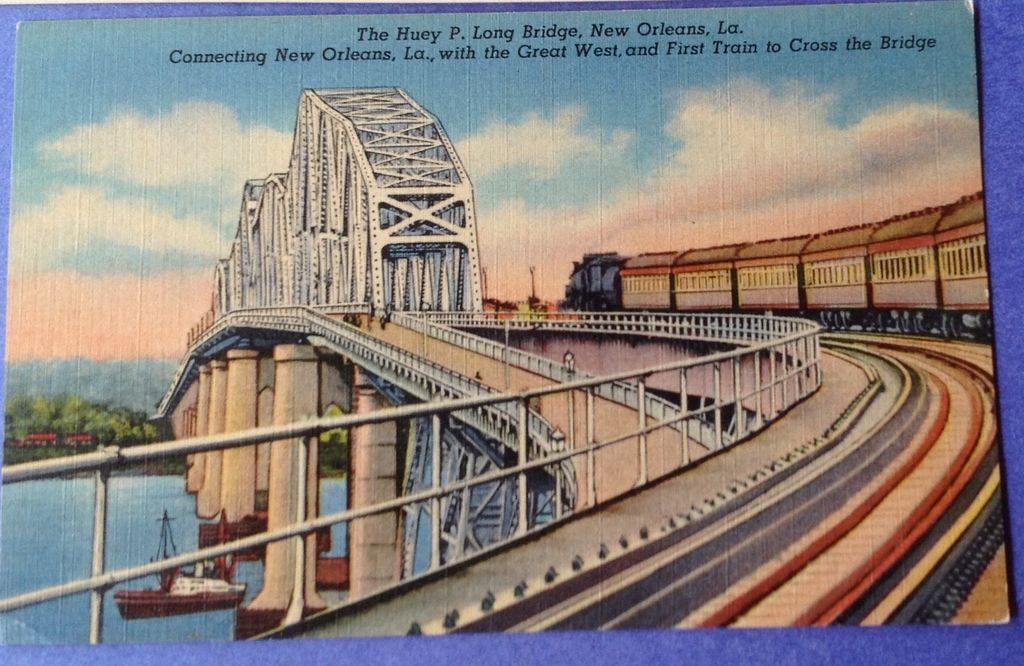 Vintage Huey P Long Bridge New Orleans From
