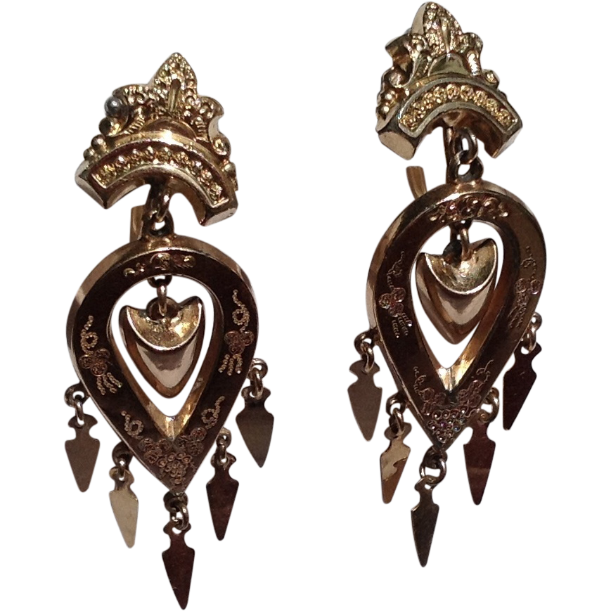 Victorian Gold Filled Dangle Earrings