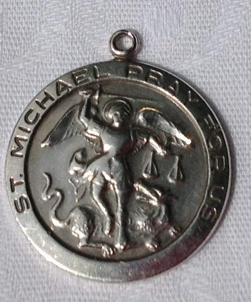 Vintage Chapel Sterling Silver Large St. Michael Medal