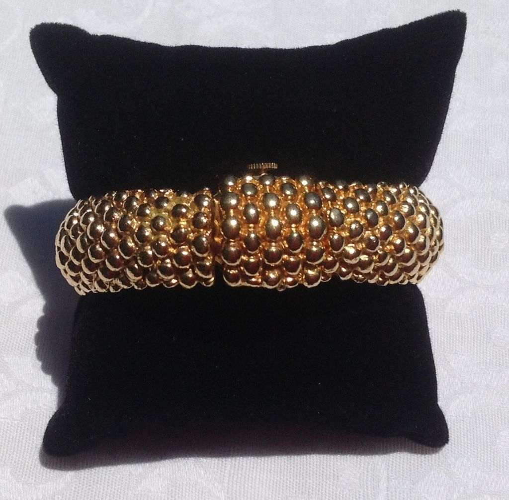 Vintage Gold  Tone Hinged Cuff Bracelet Watch