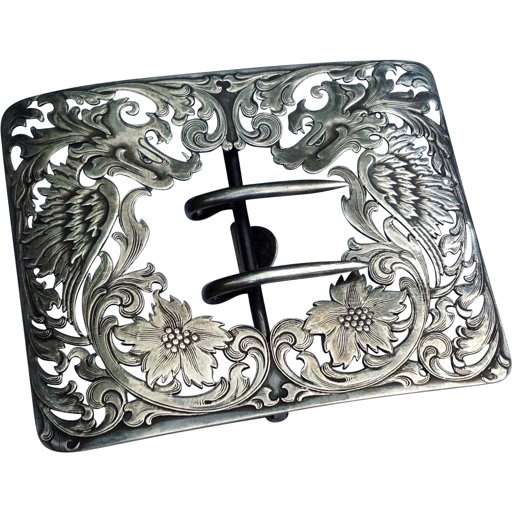 Fabulous Antique Victorian Sterling Silver Floral Belt Buckle