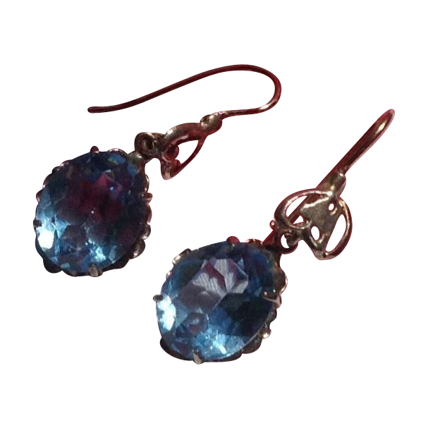 Vintage Yellow Gold Blue 3 Carat Oval Topaz Paste Dangle Earrings