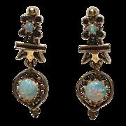 Vintage 14K Gold Cabochon Opal Dangle Earrings