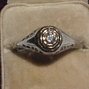 Art Deco 14K White Gold  Filigree Diamond Engagement Ring