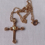 Vintage Gold Filled  Floral Motif Pearl Cross & Chain