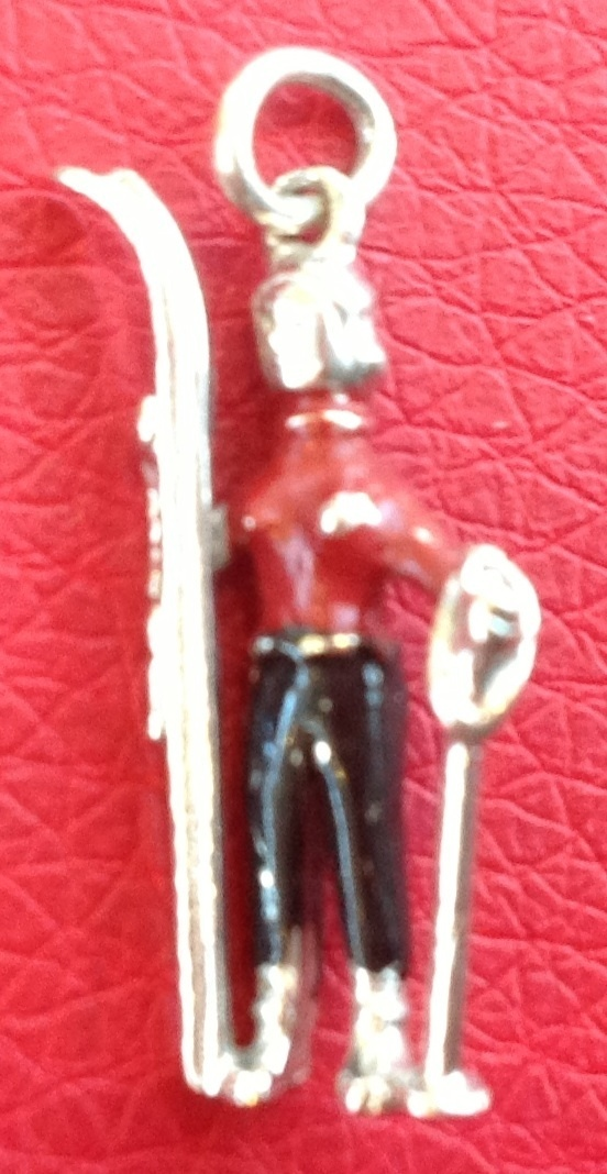 Rare Vintage Sterling Silver Enamel 3D Snow Skier Charm