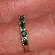 Vintage 14K Yellow Gold Emerald & Diamond Stackable Band Ring