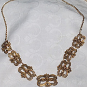 Vintage Gold Vermeil Flexible Link Floral Motif Necklace