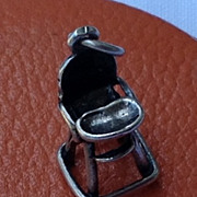 Vintage Sterling Silver Baby Highchair Charm Pendant