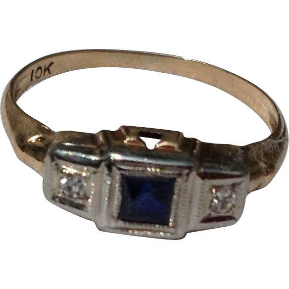Art Deco 10K Two Tone Gold Diamond Sapphire Ring