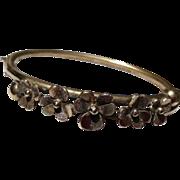 Victorian Gold Filled Hinged Pansy Motif Floral Bangle Bracelet