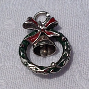 Vintage Three Dimensional Sterling Silver Enamel Christmas Wreath Charm