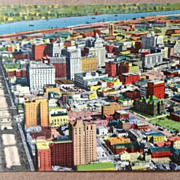Vintage  Air View Of New Orleans The Modern Metropolis Post Card