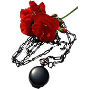 Rare Large Link Antique Victorian Gunmetal Muff Lorgnette Sautoir  Watch Chain