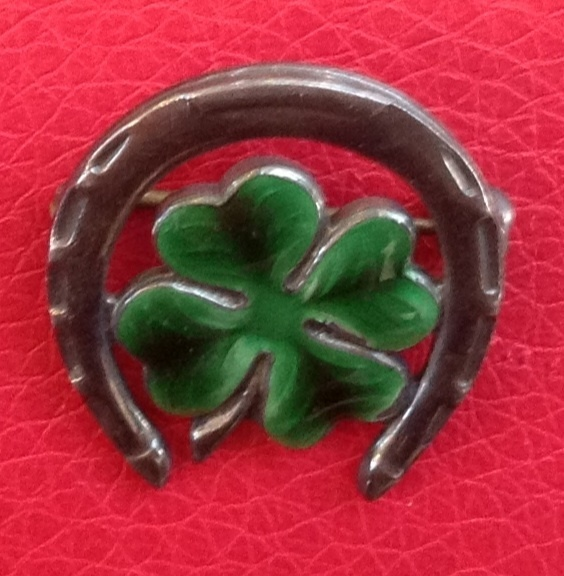 Vintage Sterling Silver Enamel Good Luck Four Leaf Clover Shamrock Horseshoe Brooch