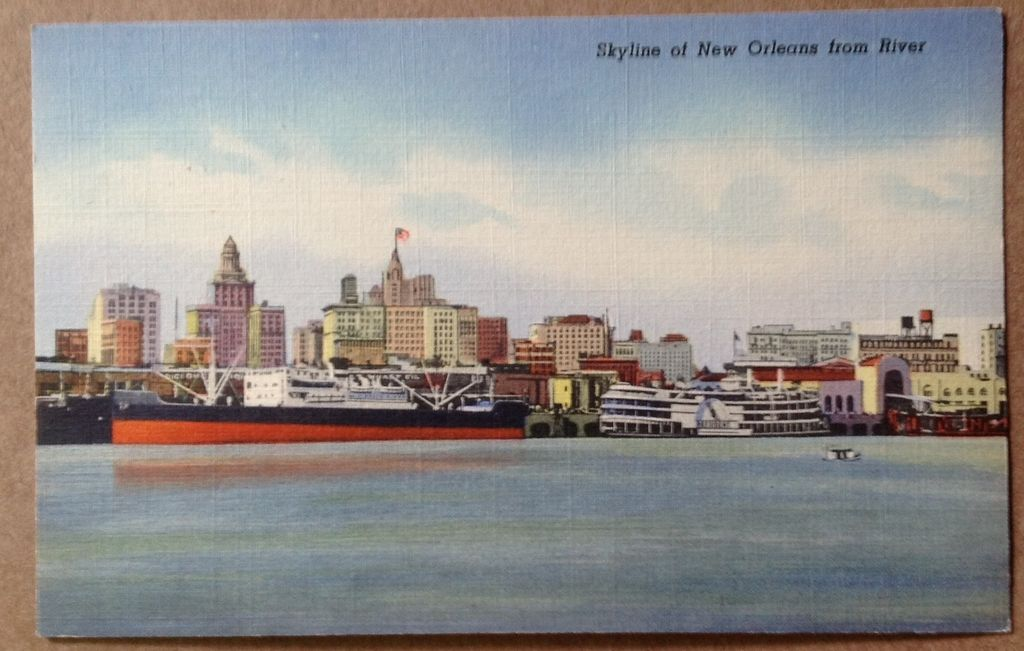 Vintage Skyline Of New Orleans From River Post Card