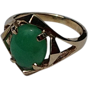 Vintage 10K Gold Jade Ring