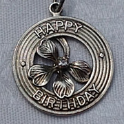 Vintage Sterling Silver Four Leaf Clover Happy Birthday Disk Charm