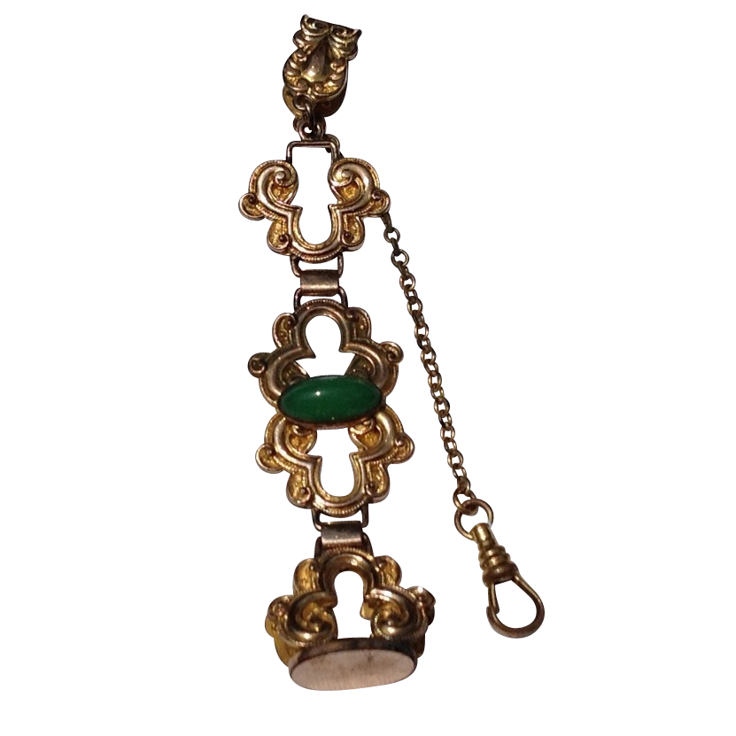 Victorian Gold Tone Metal Watch Fob Chain