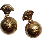 Victorian Etruscan Revival Vermeil Dangle Orb Earrings
