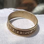 Vintage Gold Tone Metal Friendship Band Ring