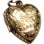 Beautiful Victorian 10K Gold Embossed Puffy Heart Double Photo Locket Pendant