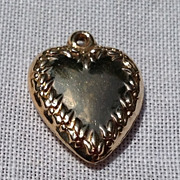 Vintage 10K Gold Puffy  Heart Pendant Charm
