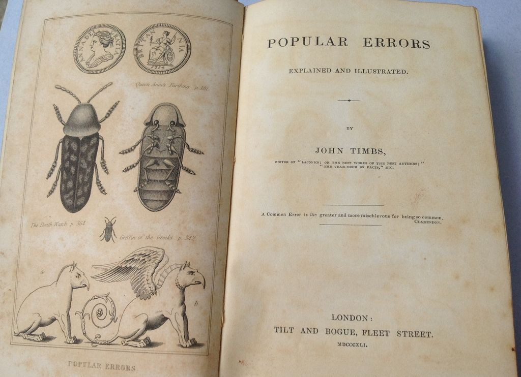 1841 Popular Errors Explained & Illustrated By John Timbs