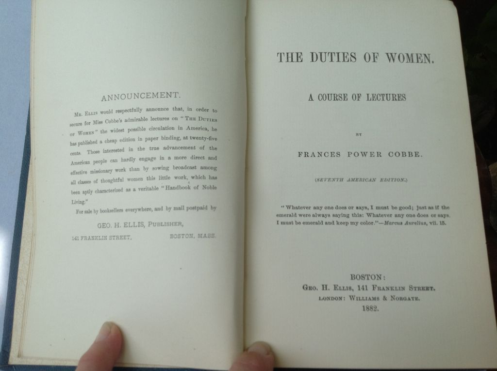 1882 The Duties Of Women A Course Of Lectures By Frances Power Cobbe