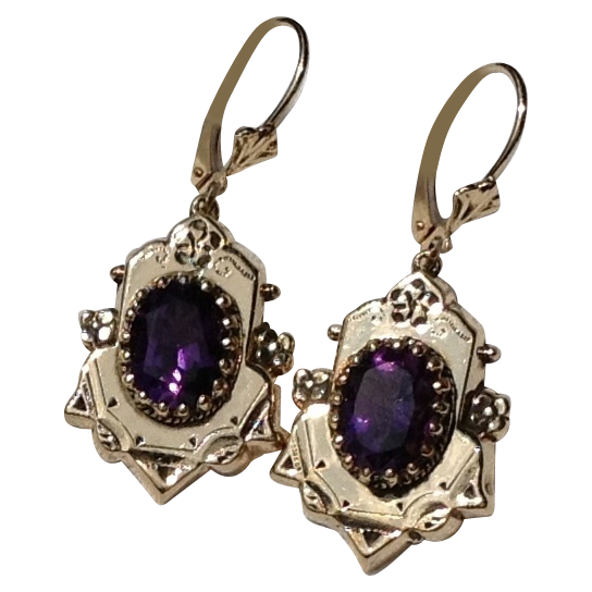 Vintage 14K Gold Amethyst Dangle Earrings