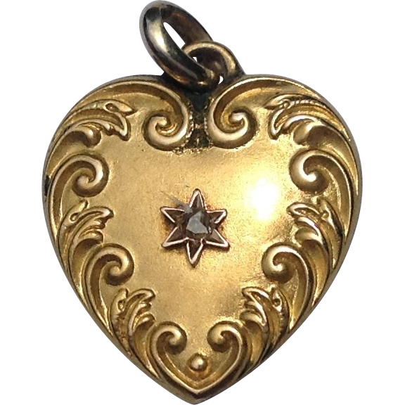 Art Nouveau 14K  Rose Gold Mine Cut Diamond Heart Pendant