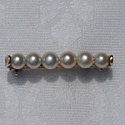 Vintage 14K Gold Pearl Bar Pin