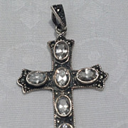 Vintage Large  Sterling Silver Marcasite & Bright Rhinestone Cross