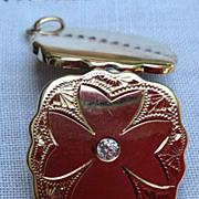 Vintage Lucky 14K Gold Four Leaf Clover Diamond Double Photo Locket