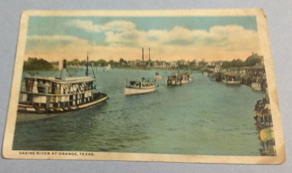 Vintage 1917 Sabine River At Orange Texas Post Card