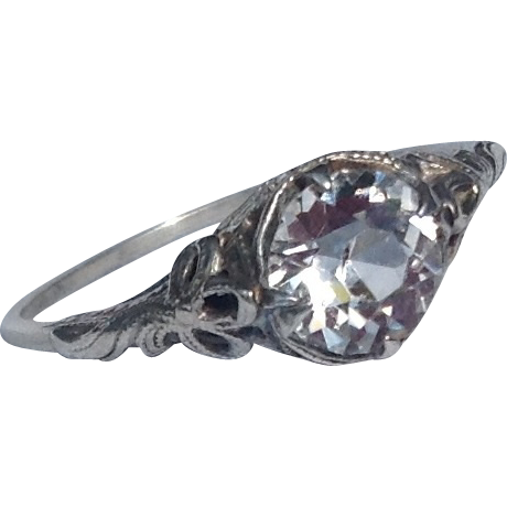Vintage Sterling Silver Filigree Paste Solitaire Ring