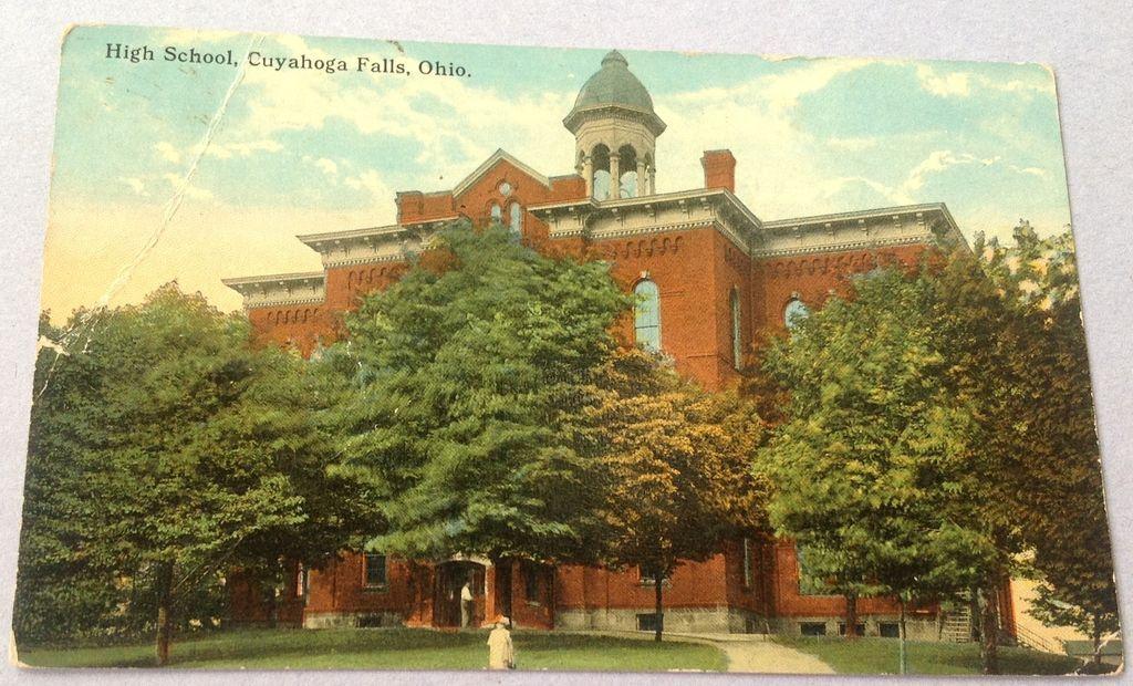 Vintage  Cuyahoga Falls Ohio High School Post Card
